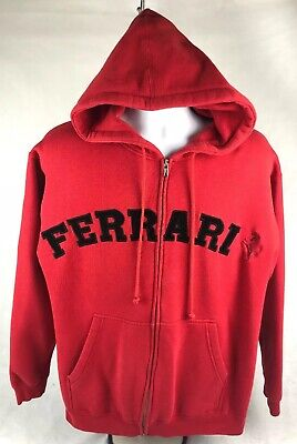 Ferrari Men's Hooded Sweatshirt Hoodie Size Small Embroidered Spellout -