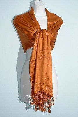 "JONES NEW YORK Sudan Brown Viscose Fringed Wrap Shawl Scarf 21""X72"" NWT"