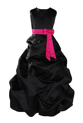 New Flower Girl Party Bridesmaid Pageant Dress 1-13 Year Black+Sash in 10Colours