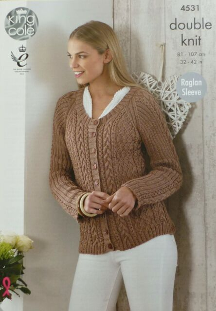 KNITTING PATTERN Ladies Long Sleeve Round Neck Cable Cardigan DK 4531