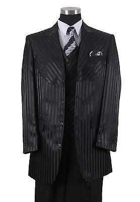 Men's 4 Button Shiny Shadow Striped Suit w/ Vest Joker Costume 2915V Black - Black Shadow Costume