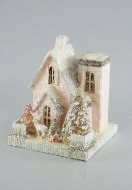 Cody Foster Petite Pink House Vintage Style Putz House HOU-077 Christmas Village