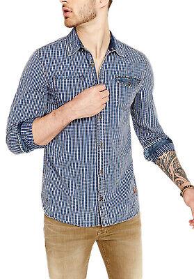 Buffalo David Bitton Herren Indigo Kariert Saugo-X Button-Up Shirt Bm19938