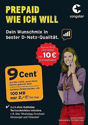 10 Euro Guthaben Congstar Pre Paid Karte D1 Telekom Netz Top Tarif Kein Vertrag! gebraucht kaufen  Salzhemmendorf
