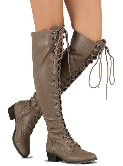 Alabama-12 Breckelle\'s Beige Over The Knee Combat Boot Lace up ...