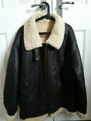 Mens Vintage Aviator Leather Sheepskin Jacket XXL Official USA Flight Garment