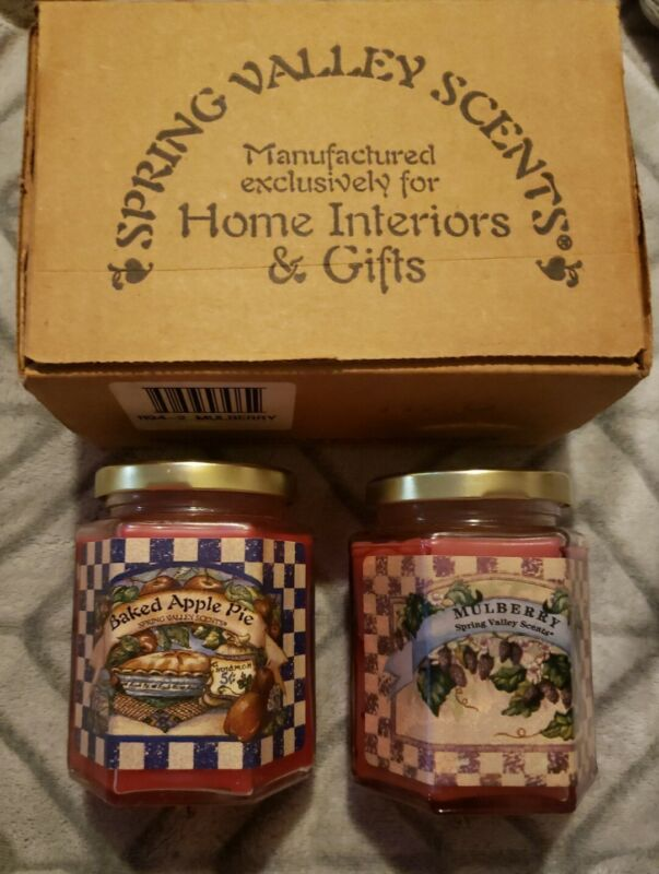 (2)Home Interior Spring Valley Collection Mulberry & Baked Apple Pie Jar Candles