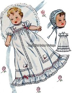 Vintage 1950s Baby Dress Bonnet & Bootee Shoes Christening S-XL SEWING PATTERN
