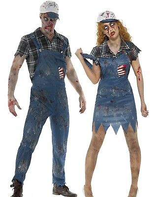 Zombie Hillbilly Costume Mens Ladies Halloween Farmer Fancy Dress Couples New - Hillbilly Halloween Costumes Female