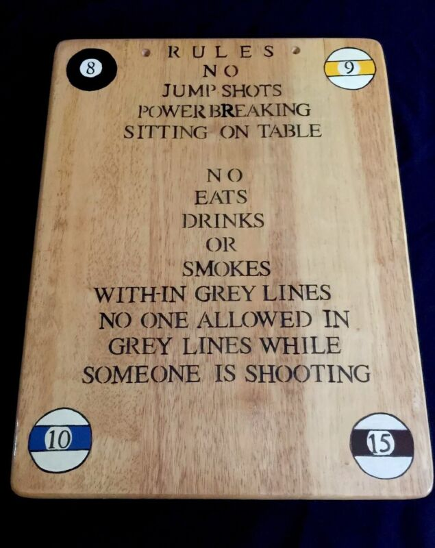 """Vintage BAR POOL HALL RULES Sign Butcher Block Wood Hand-painted Sign Plaque 19"""""""