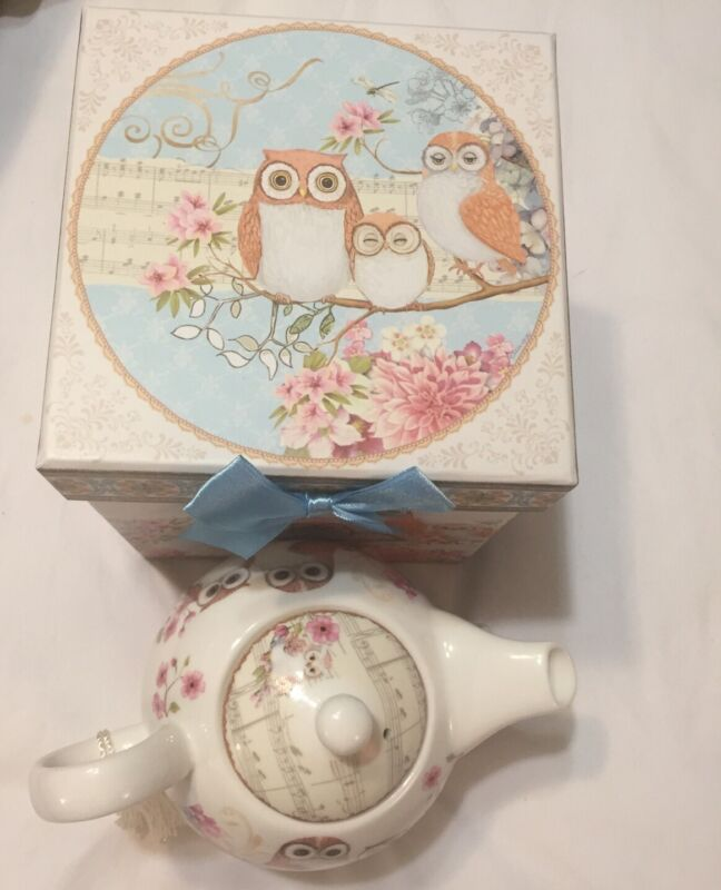 NEW SUMMER RIVER Tea For One Owls Teapot Matching Stackable Cup Ships FREE