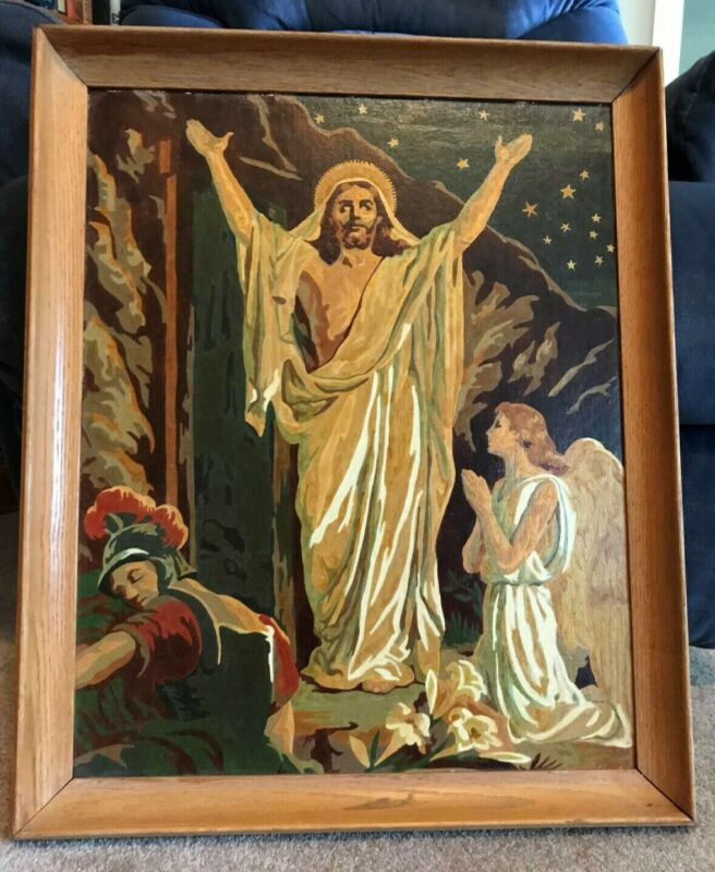 VINTAGE PAINT BY NUMBER - RESURRECTION - JESUS - ANGEL - SOLDIER - BY ART AWARD