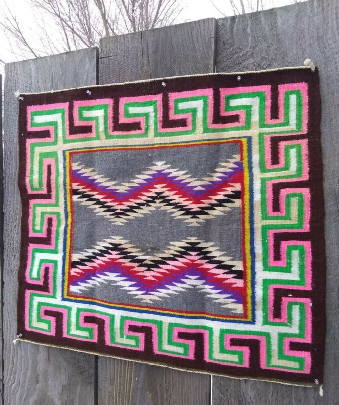 Antique Navajo Rug Saddle Blanket Throw Teec Nos Pos Native American Indian