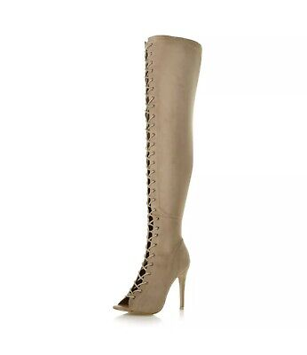 Womens ladies stiletto high heel lace up zip over the knee thigh high boots -