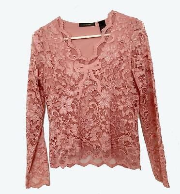 Liz Claiborne Lace Sweater, Rose, Lined, Nylon/Rayon/Spandex Blend, Size - Lined Nylon Sweater