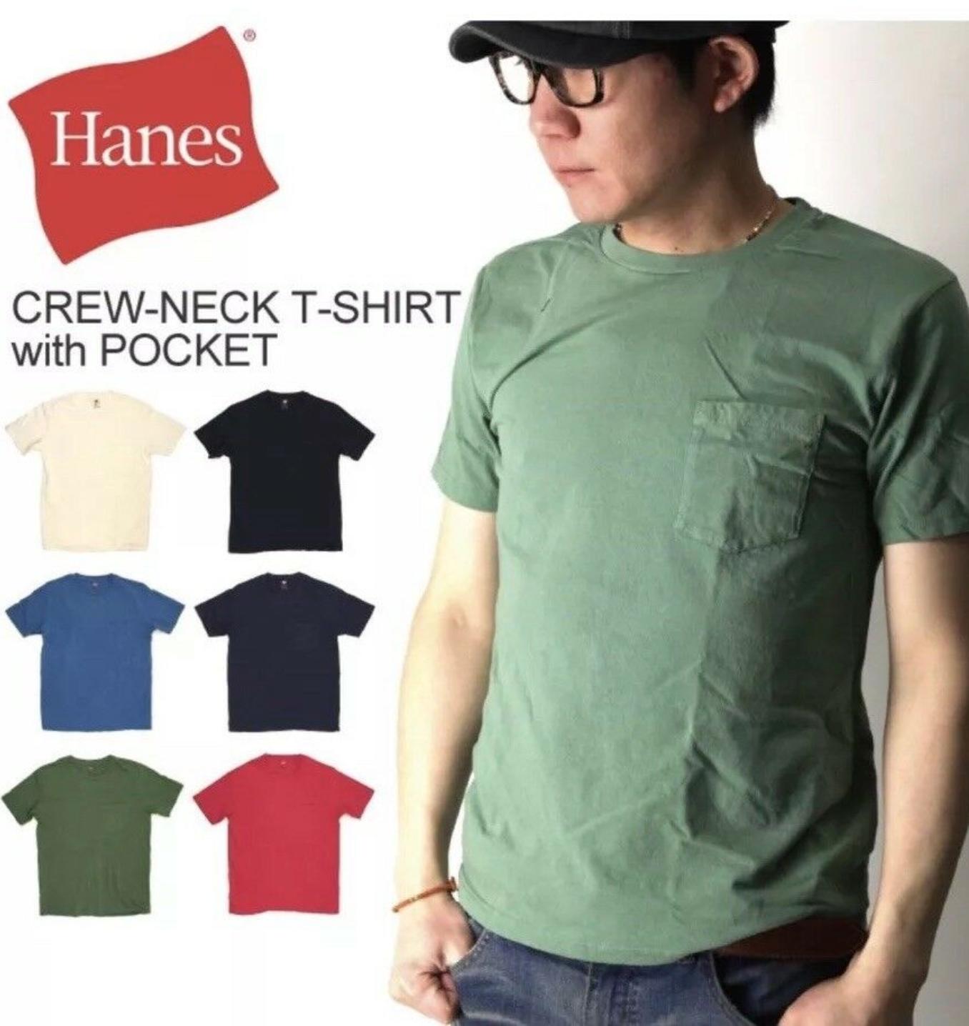 Hanes Men's Pocket T-Shirt Tagless ComfortSoft Crewneck 4-Pack