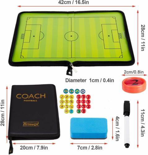 Fußball Taktiktafel Set Trainer Taktikmappe mit Magneten Boardmarker Tragbar