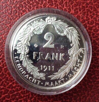 Belgique - Refrappe officielle Monnaie Royale - Rare 2 Francs  1911 VL  - Argent