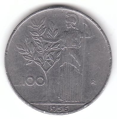 1956 Italy 100 Lire Stainless Steel Coin - Minerva Standing, Holding Olive Tree