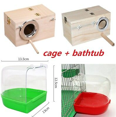 Pet Bird Hanging Cage Water Food Feeder Parrot + Wooden Window Nesting House USA