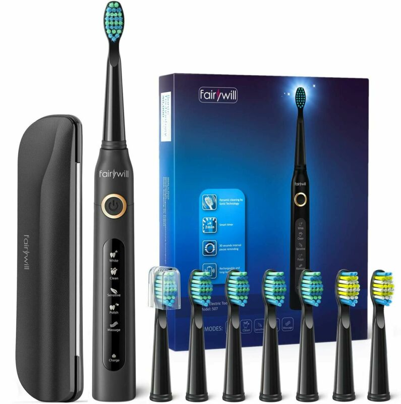 Fairywill Sonic Electric Toothbrush Rechargeable Waterproof 8x DuPont Heads USB