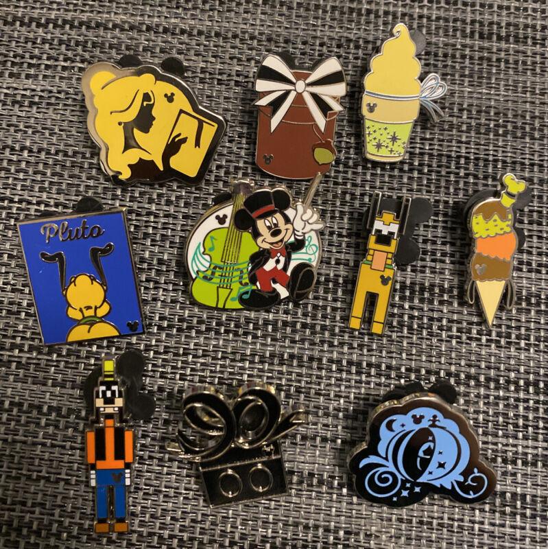 DLR HIDDEN MICKEY Disney Pin Trading Lot of 10 Pins No Doubles Lot143