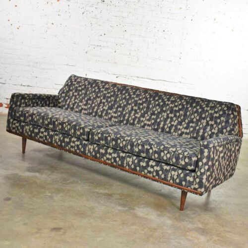 Mid Century Modern Petite Sofa with Wood Trim Newly Upholstered Gray Black Taupe