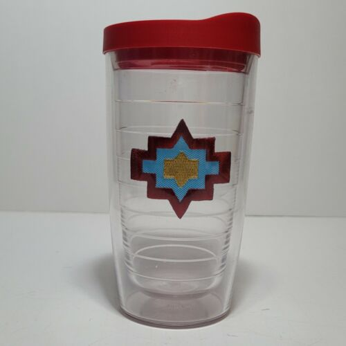 (1) TERVIS TUMBLER 16oz Clear Cup w/ Red Lid / Aztec  Adorable!