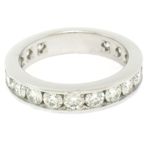 Tiffany & Co Platinum 1.8ctw Round Diamond Channel Eternity Band Ring 3.9mm Sz 5