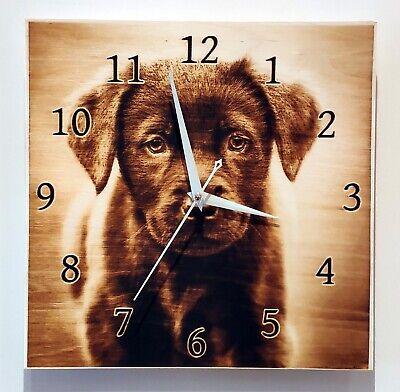 """Labrador Retriever Dog Pyrography Wood Art Animal Wall Clock 11.8"""" x 11.8"""" inch"""