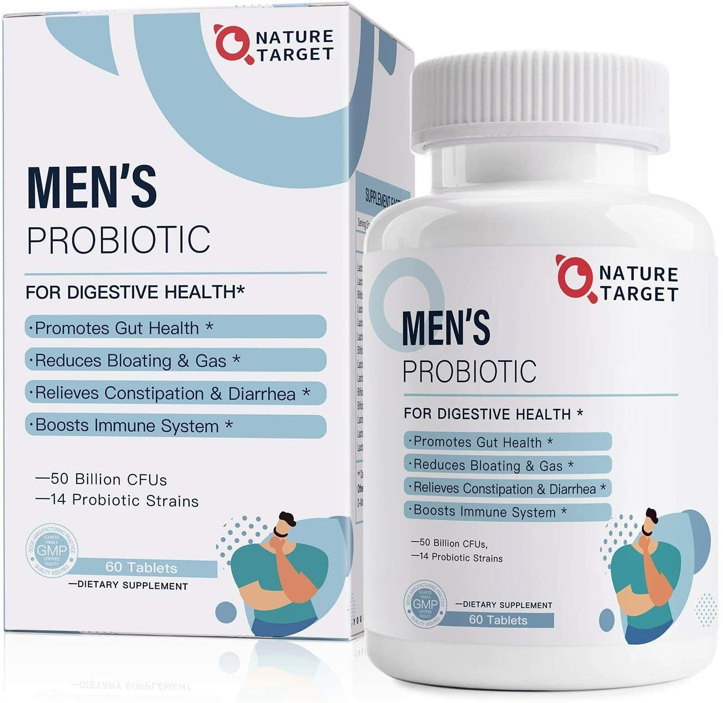 Probiotics for Men 50 Billion CFUs&14 Strains Organic Prebio