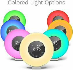 Sunrise Digital Alarm Clock Radio Relaxing Nature Sounds 6 Color Wake Up Light