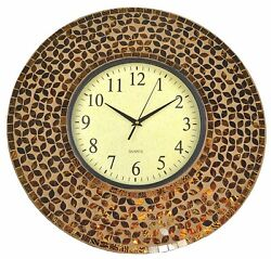 Lulu Decor, 19 Amber Flower Mosaic Wall Clock Coffee Cement, Glass Dial 9.5