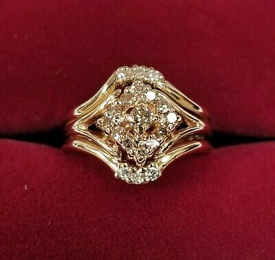 Vintage 14k Yellow Gold Trio Wedding Ring Set 19 Diamonds = 0.42 cts tw  Size 5