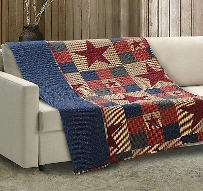 MOUNTAIN CABIN STAR 50x60 QUILT THROW : RED NINEPATCH PRIMITIVE COUNTRY BLANKET ()