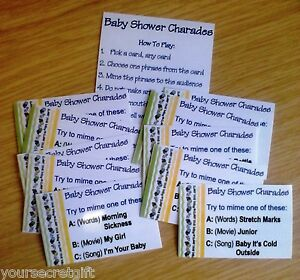 charades baby shower game up to 30 phrases to play movies songs or