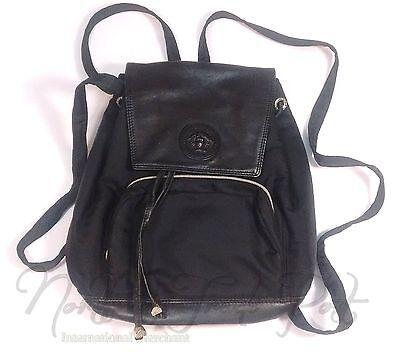 Vtg Gianni Versace Medusa Small Backpack Drawstring Bag Leather/Nylon Silver Blk