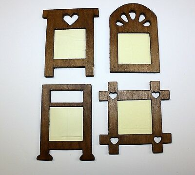 *Vintage*  4 Mini Dark Wood Frames 3.5
