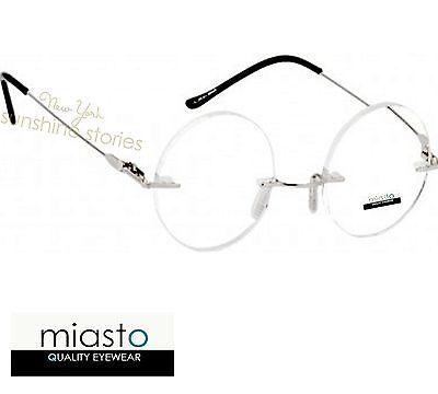 MIASTO RETRO ROUND LENNON SMALL RIMLESS READER READING GLASSES SPECS+1.75