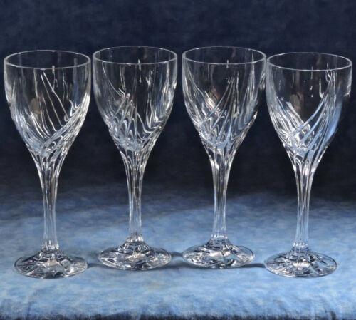 4 Lenox DEBUT Crystal Wine Glass Goblets- Retired- Cut Swirls, Ribbed Stem- EUC
