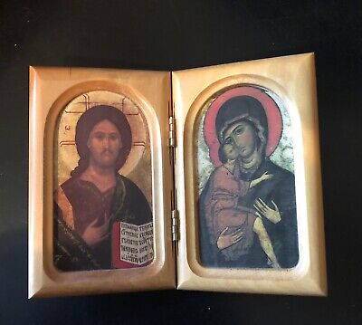 Folding Arched Icons In Wood Framed Case