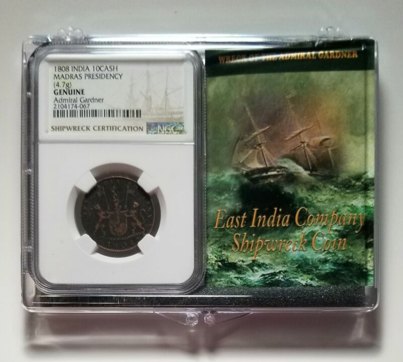 1808 India 10 Cash - Admiral Gardner Shipwreck Coin - NGC Certified with CoA