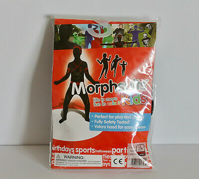 Morphsuits Kids Large Black Red Ninja Bodysuit Costume w/ Hood Halloween NIP