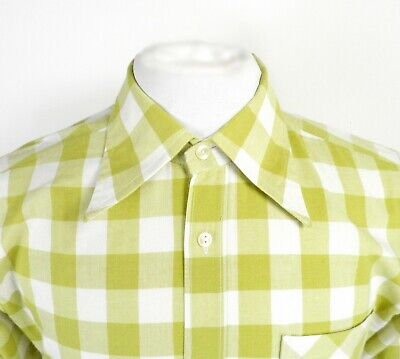 1970s Mens Shirt Styles – Vintage 70s Shirts for Guys 1970s Green and White Check Long Sleeve Dagger Collar Shirt by Sumavan Size S/M $28.19 AT vintagedancer.com