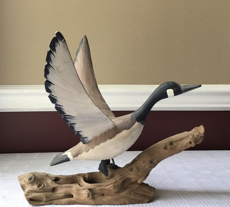 Vintage Carved Wooden Duck Figurine Mounted On Drift Wood