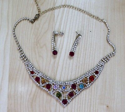 MULTI COLOURED CRYSTAL NECKLACE & EAR RING SET COSTUME JEWELLERY STUNNING
