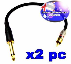 Quality 2PC 35cm 6.35mm 1/4 Male Mono To RCA Male Cable Black Brd Parafield Gardens Salisbury Area Preview