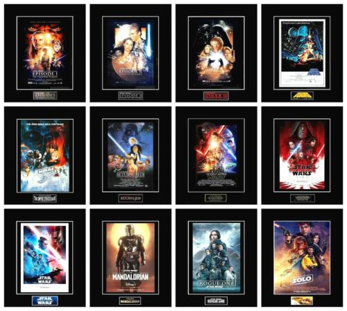 """(12) STAR WARS 8"""" x 10"""" Episode Movie Poster Photos - All 11"""" x 14"""" Black Matted"""