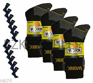 New 12 Pairs Mens Ultimate Work Boot Socks Size 6-11 Cushion Sole Reinforced Toe