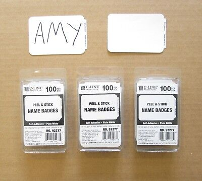 300 White Name Badges Tags Labels Id Stickers Peel And Stick Adhesive Plain Tag